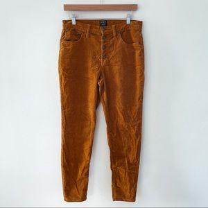 "J. CREW   9"" High Rise Skinny Mustard Corduroy Button Fly Pants Sz 29"
